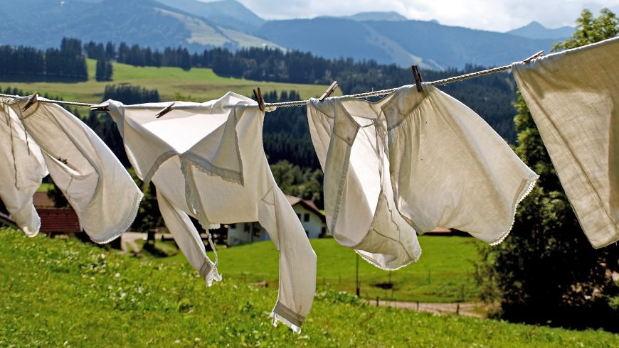 Drying laundry.
