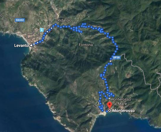 From Levanto to Monterosso, map