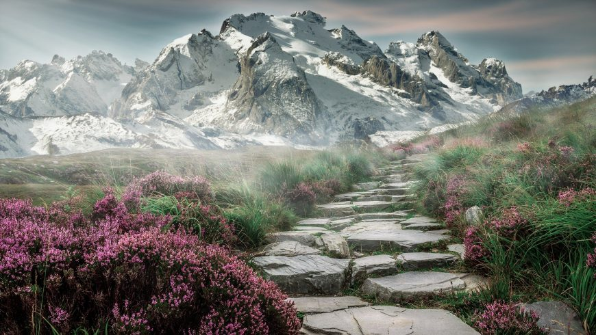 Stone hike path in the Alps.