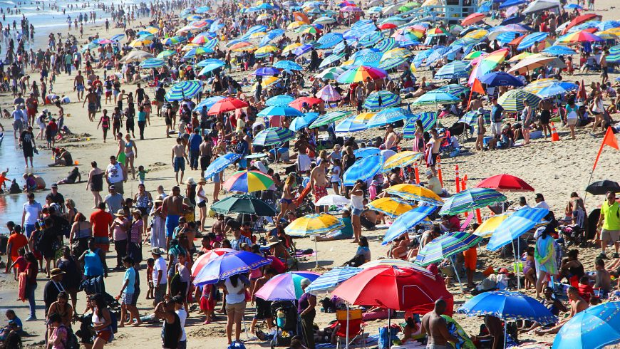overtourism causes overcrowded beach