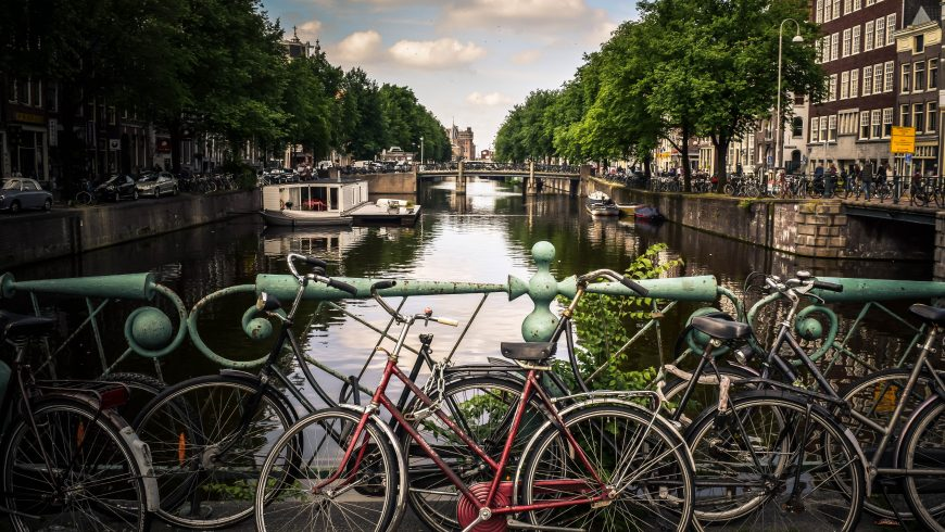 bikes on a river for the planet health