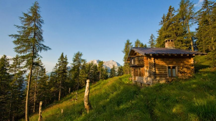 green alpine hut italy in the woods