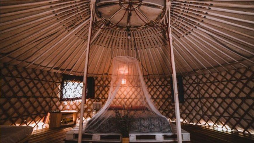 inside a green yurta tent