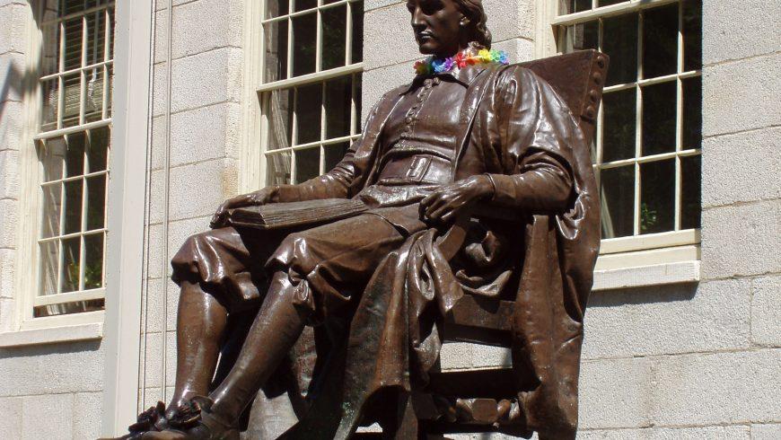 Statue in the college courtyard of Harvard University, Cambridge, Massachusetts