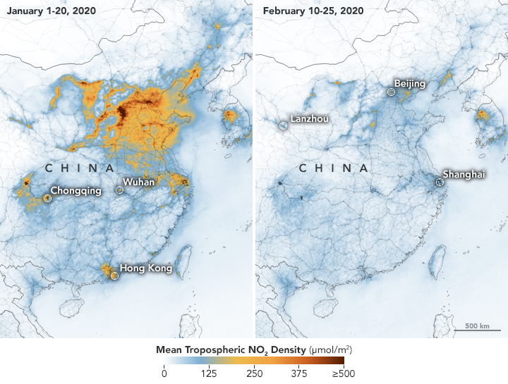Map of concentrations of air pollutants before and after the coronavirus emergency in China