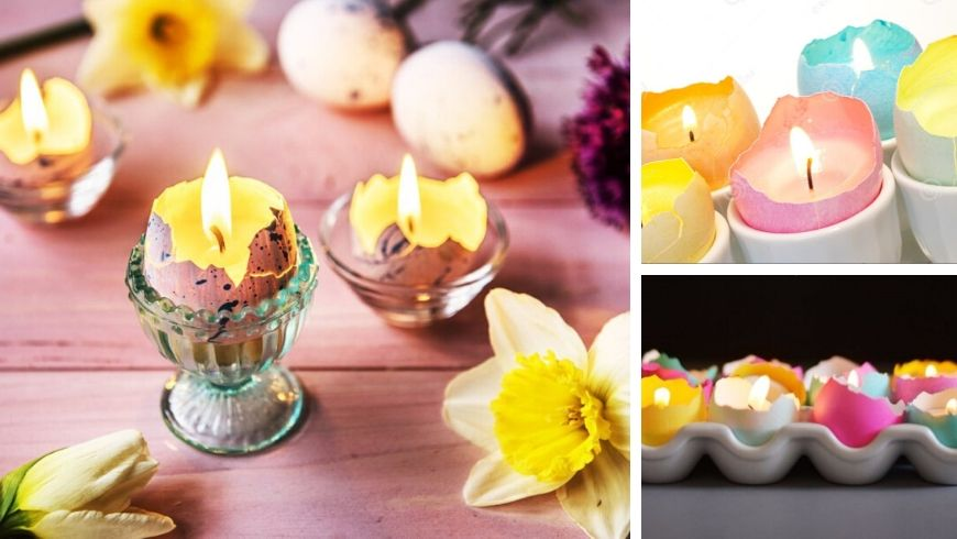 easter candles ideas in eggshell