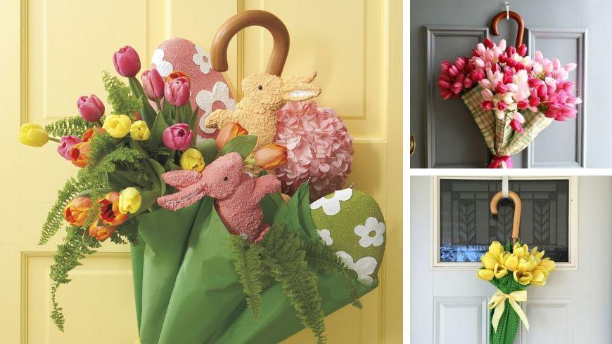 umbrella door wreath recycle easter ideas