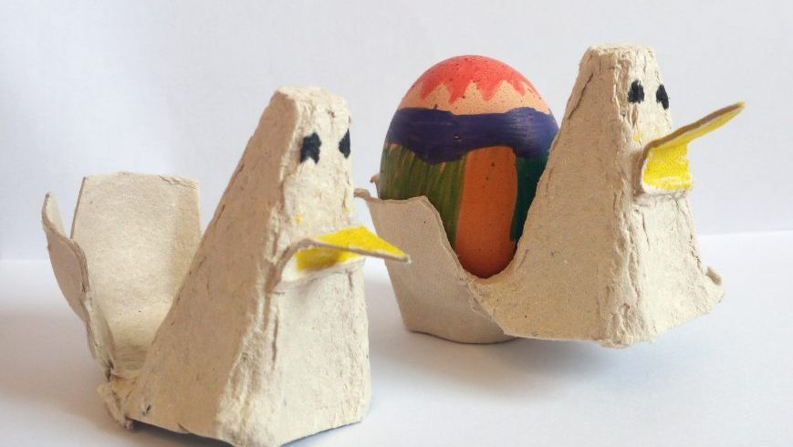 cardboard hens, recycling old egg containers