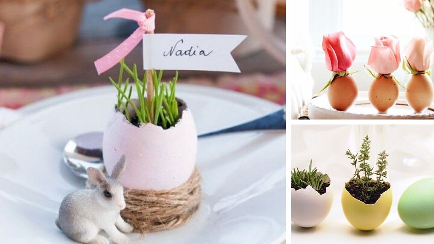 easter decorations plants in eggshell