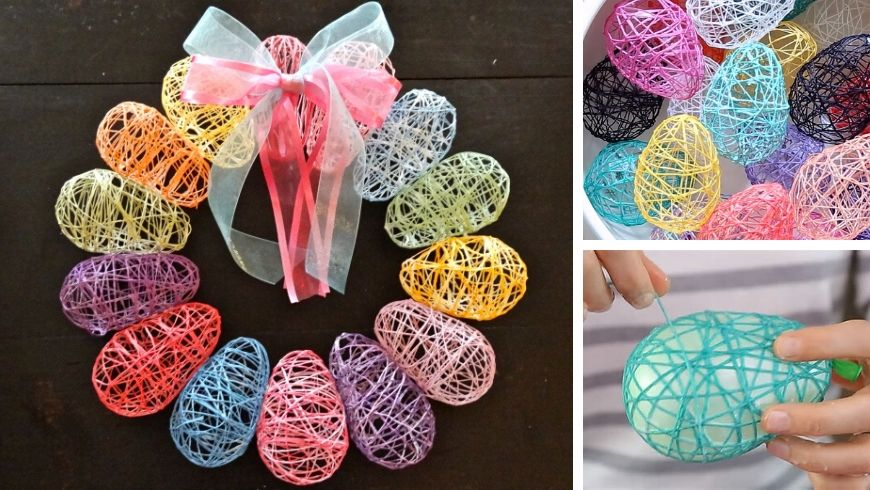 yarn eggs easter decorations