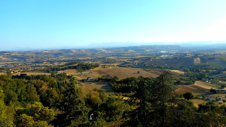 "Panorama from the garden of the former monastery of Santo Stefano, on the top of the ""Colle dell'Infinito"" in Recanati"