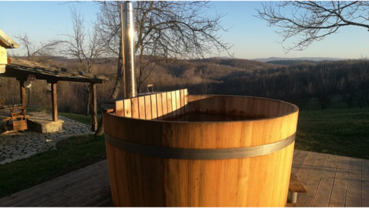 Have a bath in the hot tub at the Ekodrom Estate