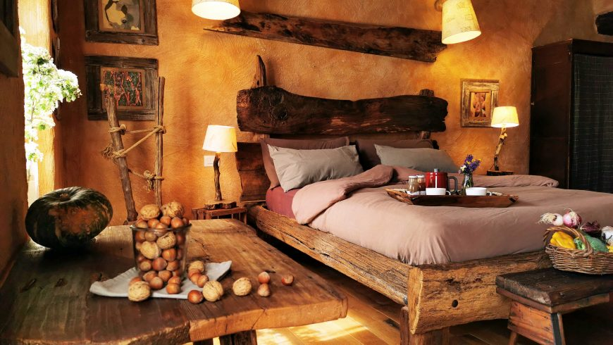 Bedroom with natural materials
