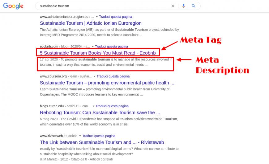 Meta Tag e Meta Description - Google Research Sustainable Tourism