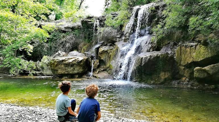Children watching waterfalls in a wood