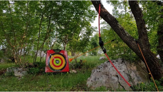 Amuse yourself playing outdoor games at the Eco Glamping Freedom in Istria