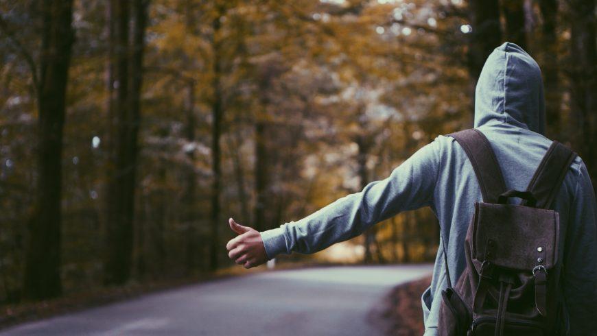 Student traveling Hitchhiking