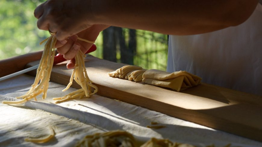 Homemade pasta with organic ingredients at the Ecobnb Vila Dama