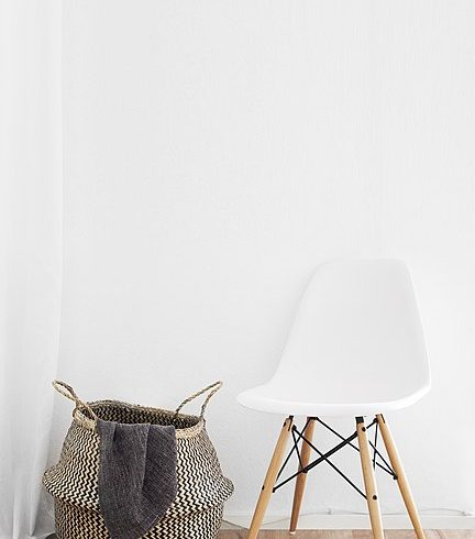 White chair and basket