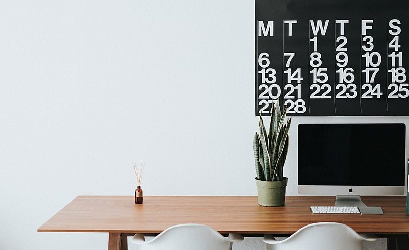 Minimalist office with calender