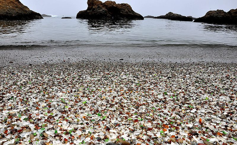 Ground level view of glass beach and sea