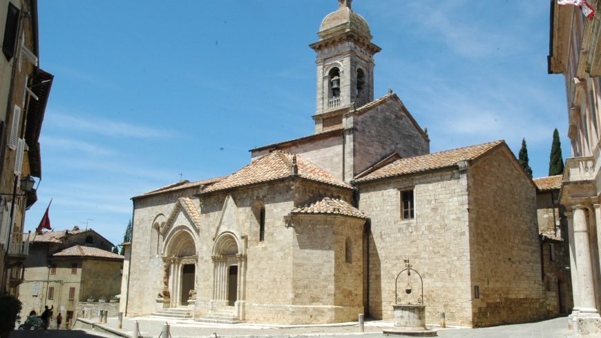 Collegiata of the Saints Quirico and Giuditta, withi Gothic and Baroque elements, in San Quirico d'Orcia