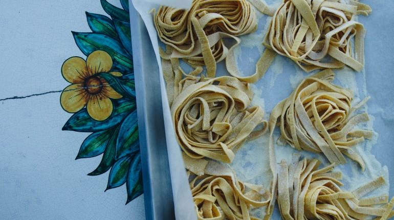 "Home-made pasta at the family run organic farm ""Il Rigo"", San Quirico d'Orcia"