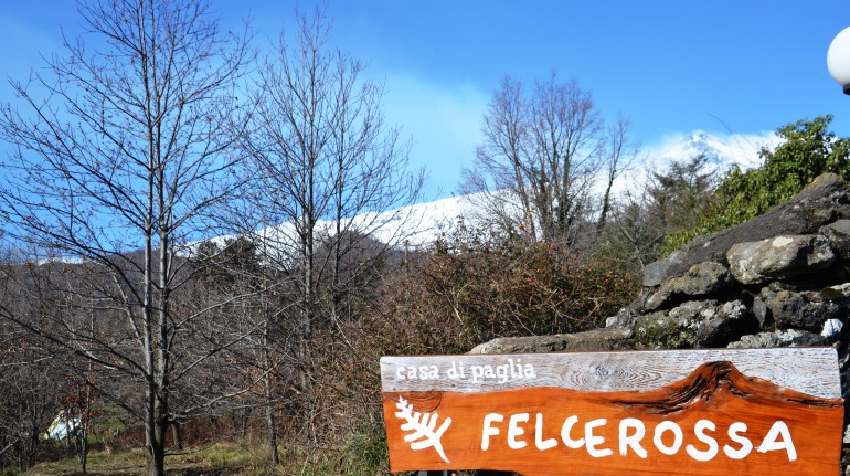 Signboard of the straw bale house felcerossa
