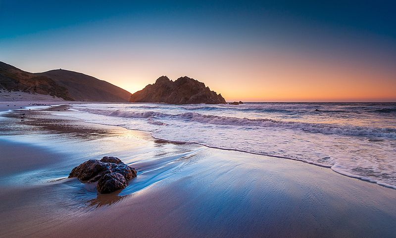 Purple beach and sea, at sunset, the last picture of the most colourful beaches