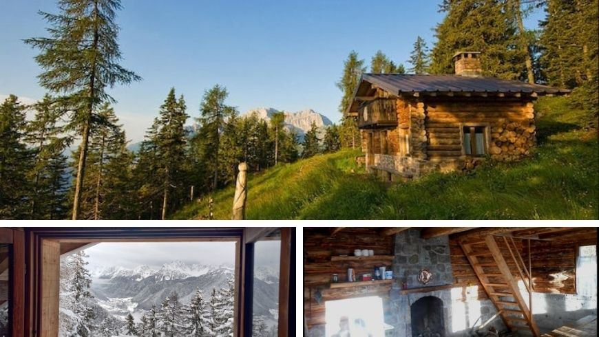 cabin in the middle of an alpine forest