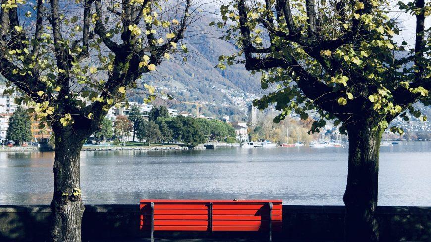 bench overlooking the lake lugano