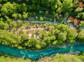 Soca river near the campsite, view from above