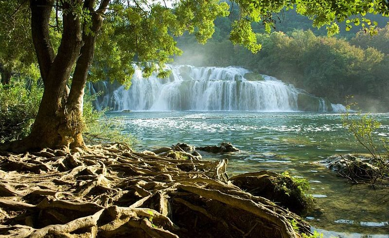View of waterfalls in Krka National Park.