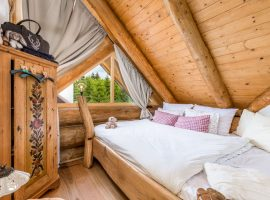 Handmade bedroom furniture in Divjake Log Home eco chalet in Croatia