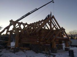 Divjake Log Home under construction.