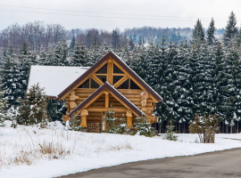 Divjake Log Home covered in snow, front view