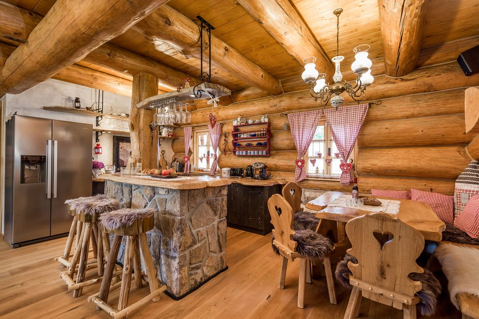 Dining room in Divjake Log Home eco chalet in Croatia