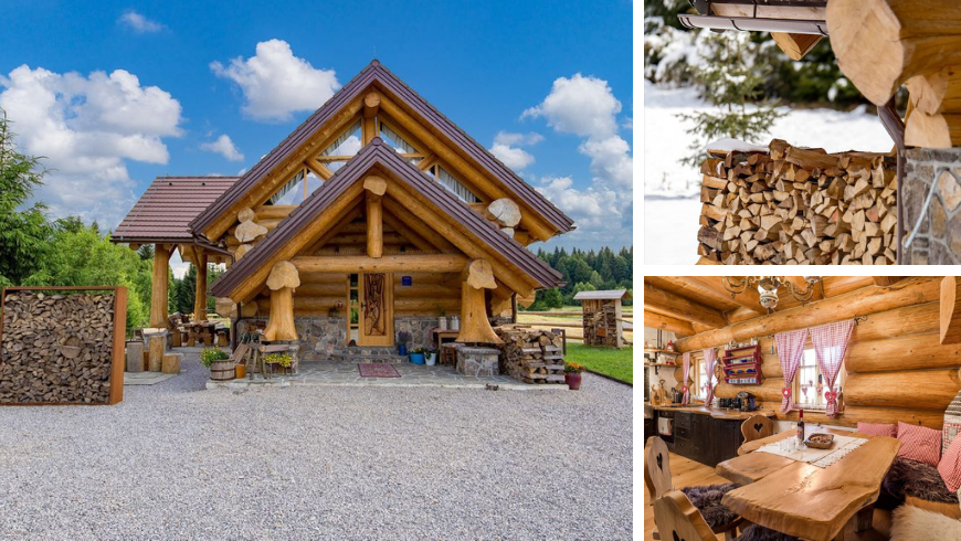 Exterior and interior view of Divjake Log eco chalet in Croatia, all entirely made out of wood.