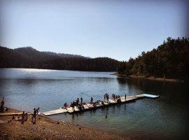 Tourists on the shore of Lokve Lake