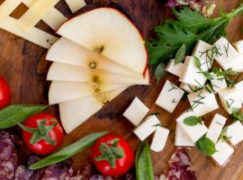 Vegetables, fruit and cheese