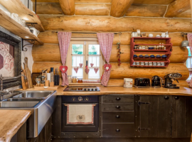 Wooden kitchen in Divjake Log Home