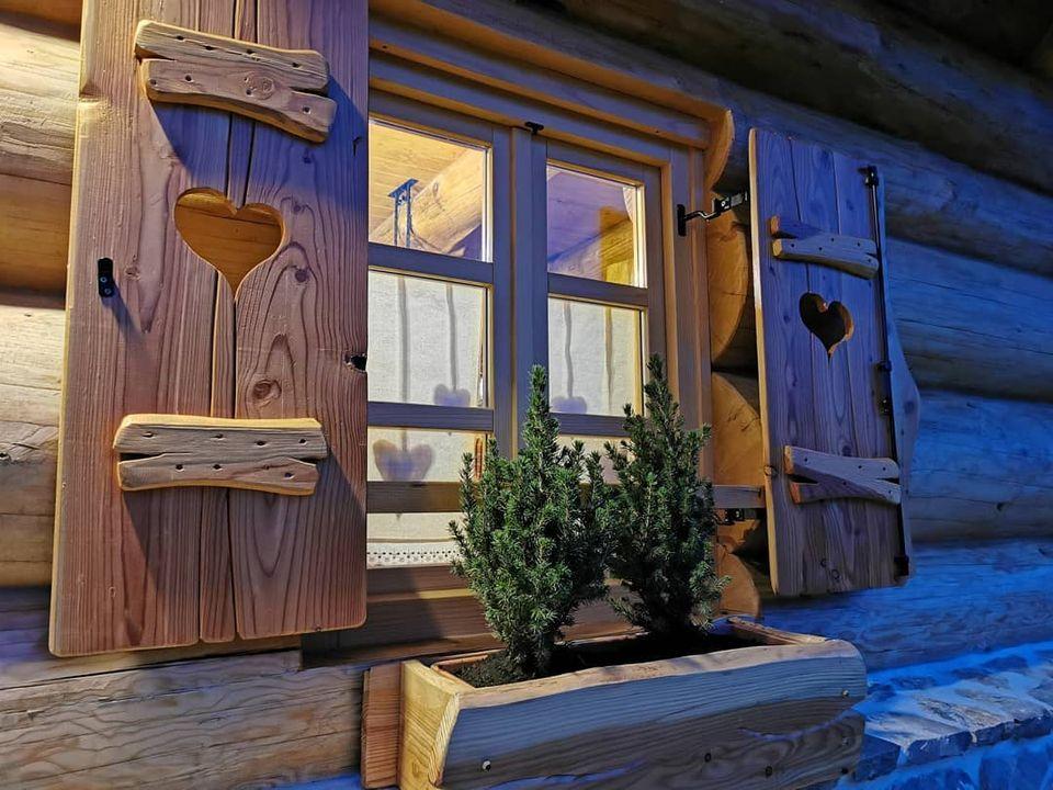 Window in Divjake Log Home eco chalet in Croatia