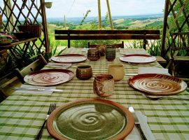 lunch with ceramic dishes