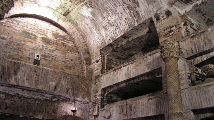 The inside of san callsito catacombs subterranean