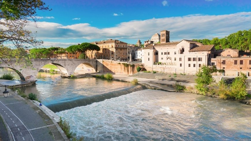 Magnificent sight of trastevere from tevere