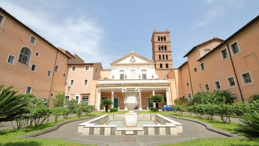 fountain and garden of santa cecilia church, rome