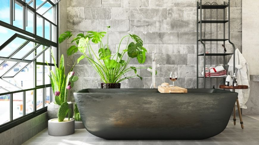 green bathroom with natural ventilation
