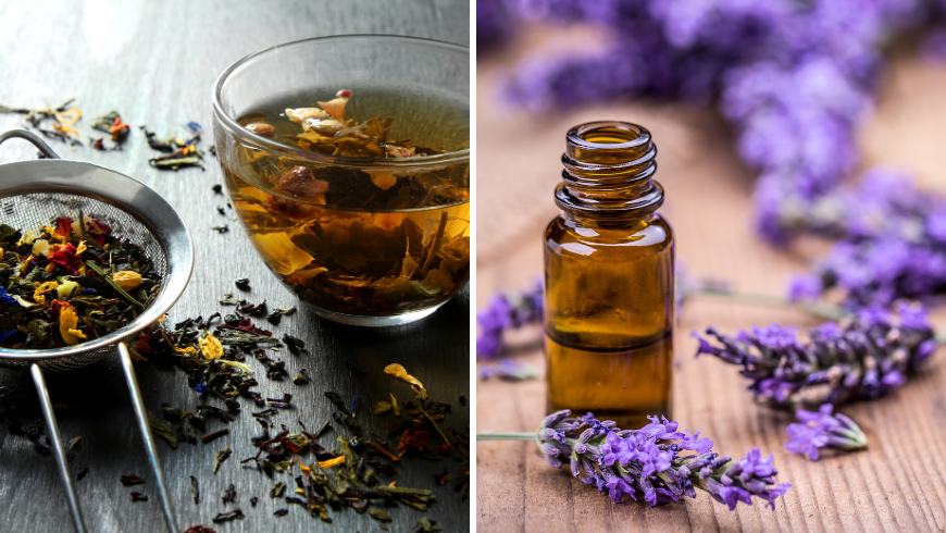 scents and infusions of calming herbs