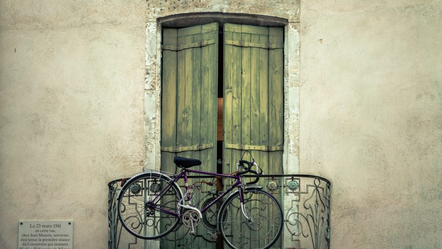 bike on a balcony in nimes, france