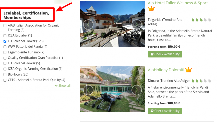 Ecobnb website, useful to find eco-accommodation
